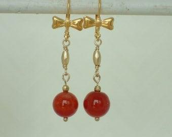 Red Orange Agate Gemstone Bowtie Earrings