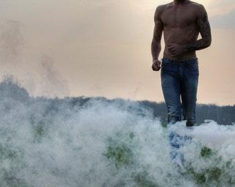 Naked torso common man with smoke / Running man with smoke