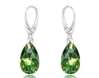 Earrings Swarovski sterling silver swarovski crystal  wedding earrings Crystal earrings Peridot