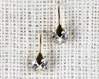 Crystal drop earrings - gold