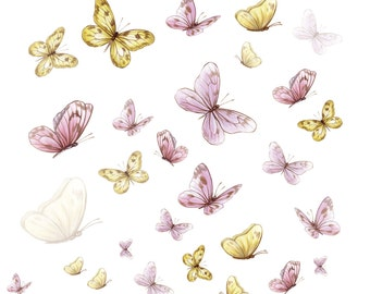 Butterfly Decals, butterfly wall stickers, butterfly wall decals, painted butterflies, butterfly mural, butterfly wall sticker, girls decals