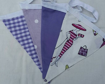Three meters of chic lady fabric bunting.