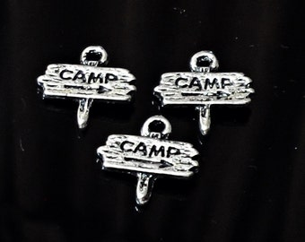 Set of 5 Camp Sign Charms, Camp Sign Charm, Camp Charms, Antique Silver, Jewelry Making /cc2