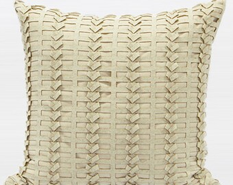 "Luxury Beige Handmade Textured Pillow Cover 18""X18"""