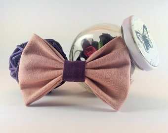 Bow tie brooch pin rose powder with violet