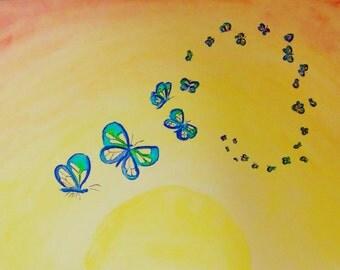 """Butterfly swarm, watercolour print, 6"""" x 4.5"""""""