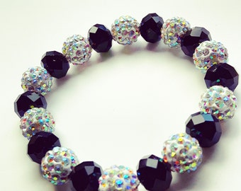 Beaded black and white crystal bracelet