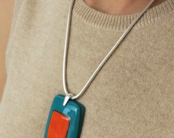 """Modern necklace - large glass pendant with 3mm 20"""" sterling silver chain"""