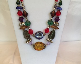 Two Strand Chunky Multi Color Beaded Necklace