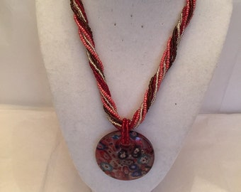 Red Twist Beaded Pendant Necklace