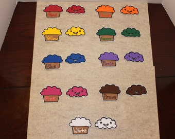 Cupcake Color and Word Matching Game Felt Preschool Sight Words Toy