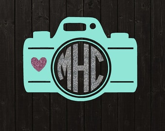 Camera Monogram Vinyl Decal / Monogram / Decal / Vinyl Decal / Car Decal / Yeti Decal / Laptop Decal / Monogram Sticker / Personalized Decal