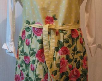 Apron, Rose Garden, Roses, Yellow Polka Dot