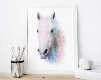 Horse Print, horse Watercolor horse Printable, horse Painting, horse decor, horse Wall Art, horse art animal horse, horse poster