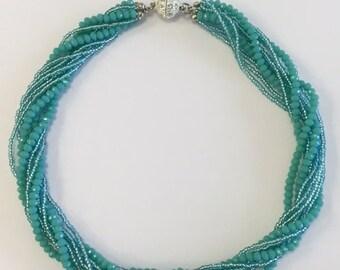 "18"" ATHENA, MURANO glass beaded necklace, aruba blue green , New"