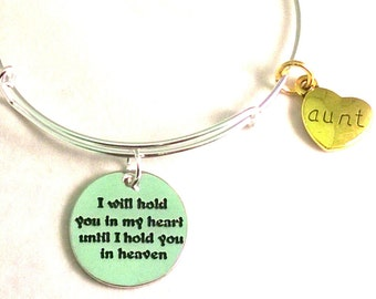 "AUNT ""I Will Hold You In My HEART Until I Hold You In HEAVEN"" Charm Bracelet"