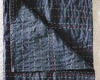 black // hand-quilted blanket