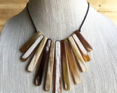 Hathorway Anh Buffalo Horn Bib Necklace • Horn Jewelry • Horn Accessories • Festival Jewelry • Bar Necklace • Gypsy • Boho Jewelry