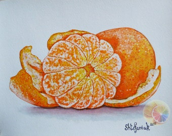 "Tangerine Painting, Mandarin Painting, Orange Painting, 8""x10"", orininal hand painted artwork, kitchen wall art, kitchen decor, fruit art"