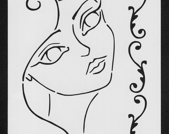 Girl Face Stencil (Girl 001)