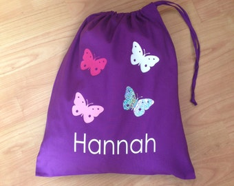 Personalised BUTTERFLY BUTTERFLIES Pe Pump Gym School Drawstring Cotton BAG