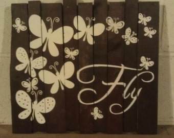 Butterfly wood wall hanging