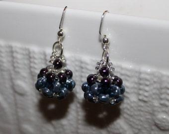 Grey & brown-beaded handmade beadweaving-earrings
