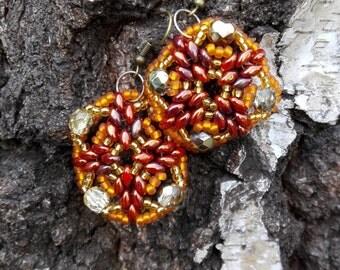 Brown, square ladies earrings