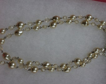 7 inch Pearl and Crystal bead stacked necklace.