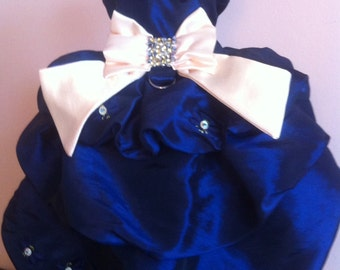 Small dog harness dress special occasion Royal blue taffeta lined