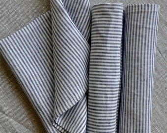 Striped Blue Linen Table Napkins | Set of 6