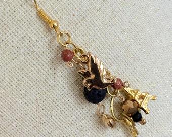Golden Paris Charms Earrings