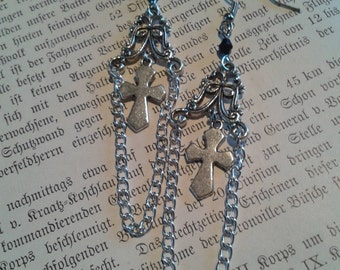 Long earrings with cross or Lily and chains
