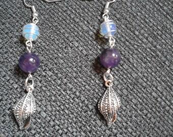 Amethyst and Opalite drop earrings