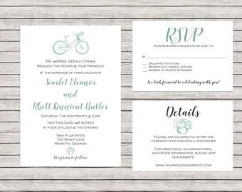 Bike Wedding Invitation, Printable Wedding Invitation Suite, Vintage Wedding Invitation, Spring Wedding Invitation, Mint Wedding Invitation