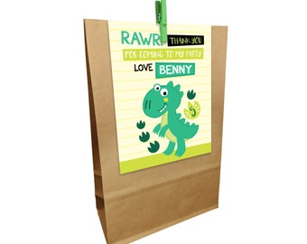 Kids Birthday printed DINOSAUR Paper Party Bags with Peg. Matching invitations available.
