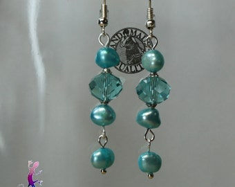 Turquoise crystal beads and  water pearls  earrings