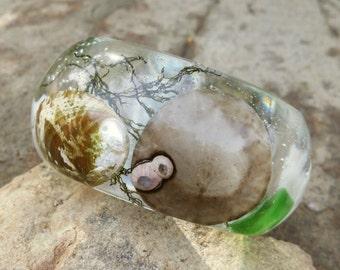 Chunky Sea shell Bracelet-Cream-Brown-Green