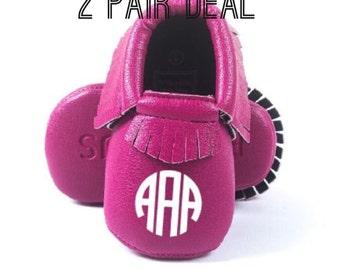 2 Pair of Custom Baby Moccasins, Crib Shoes, metallic moccasins,