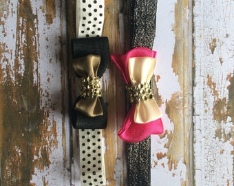 Set of 2 Small Bow Baby Headbands   Blinged   Polka Dot and Glitter Stretchy Band