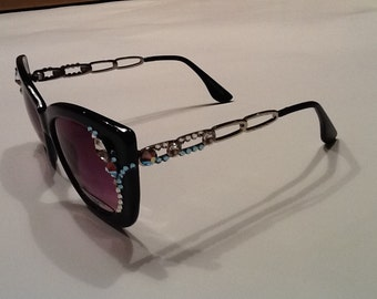 Black Sunglasses with Swarovski Crystals