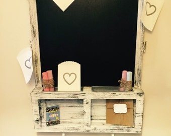 Rustic Chalkboard with shelving