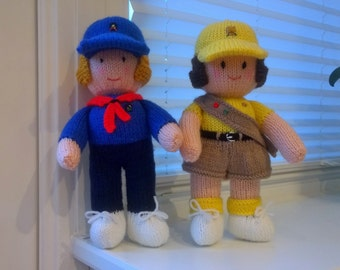 Knitted Girl Guide & Brownie (each doll cost 20 GBP)