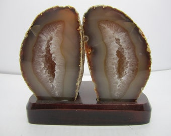 Polished Agate Geode Pair Dyed Natural On Wooden Base Brazil #9