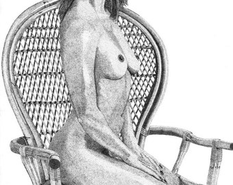 Pen & Ink Drawing, A4 - Wicker Chair