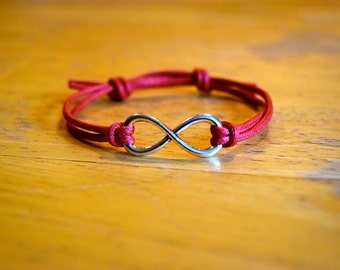 Infinity Bracelet, Waxed Cotton Bracelet, Adjustable, Large Antique Silver Infinity Charm, Red Waxed Cotton, Infinite Love, Friendship