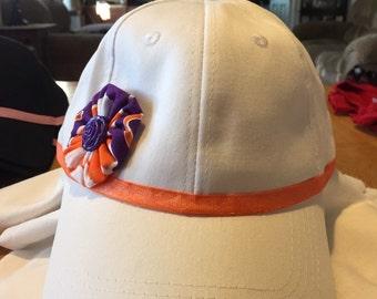 Handmade woman's or girls Clemson baseball hat