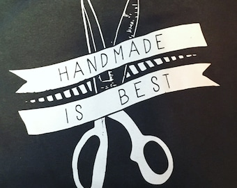 Hoodie - Handmade is Best, Hooded Sweatshirt, Charcoal