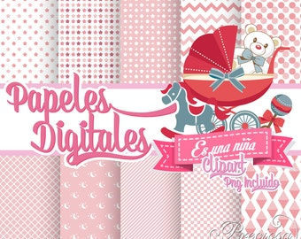 Digital papers pink baby shower girl + Clipart