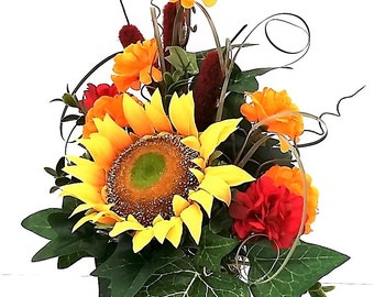 Sunflower Silk Arrangement Cattails Mums Fall Silk Flowers Etsy Silk